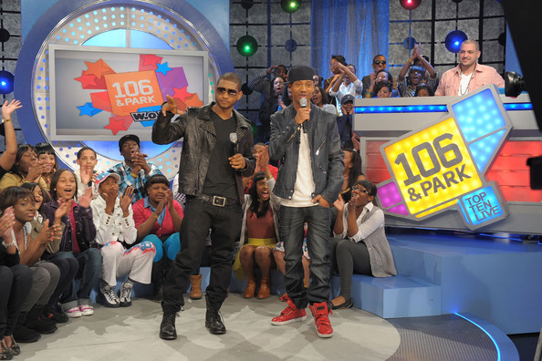 "Singer Usher talks with BET VJ Terrence J on BET's ""106 & Park"" at BET Studios on March 24, 2010 in New York City."