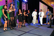 New Look Youth Choir, Usher, Vedo, and Ludacris onstage at the 15th Anniversary Celebration of Usher's New Look at the President's Circle Awards Luncheon on July 31, 2014 in Atlanta, Georgia.