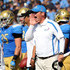 Jim Mora Photos - Head coach Jim Mora of the UCLA Bruins shouts instructions in the game against the Utah Utes at the Rose Bowl on October 13, 2012 in Pasadena, California. UCLA won 21-14. - Utah v UCLA