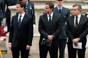 Prime Minister Gordon Brown (R), Leader of the Liberal Democrats Nick Clegg (L) and Conservative Party Leader David Cameron attend the VE Day 65th anniversary tributes at the Cenotaph in Whitehall on May 8, 2010 in London, England. The ceremony commemorates the Victory in Europe day, declared on 8 May 1945.