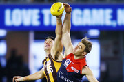 Mark Pittonet of the Box Hill Hawks (L) competes for the ball against Tim Smith of the Casey Demons during the VFL Grand Final match between Casey and Box Hill at Etihad Stadium on September 23, 2018 in Melbourne, Australia.