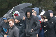 Nathan Jones of the Demons and Max Gawn of the Demons shelter under an umbella during the VFL Preliminary Final match between Casey and Essendon at North Port Oval on September 15, 2018 in Melbourne, Australia.