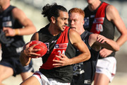 Jake Long of Essendon competes for the ball  during the round eight VFL match between the Northern Blues and Essendon at Ikon Park on May 26, 2018 in Melbourne, Australia.