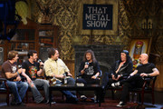"(L-R) ""That Metal Show"" hosts Jim Florentine, Don Jamieson, Eddie Trunk and musicians Steve ""Lips"" Kudlow, Robb ""Geza"" Reiner and Glenn ""G5"" Five of the band Anvil attend the taping of VH1 Classic Presents ""That Metal Show: Anvil Special"" at Hard Rock Cafe, Times Square on September 28, 2009 in New York City."