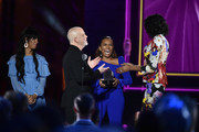 Honoree Ryan Murphy (2nd L) celebrates on stage with Mj Rodriguez, Janet Mock, Dominique Jackson during VH1 Trailblazer Honors 2018 at The Cathedral of St. John the Divine on June 21, 2018 in New York City.