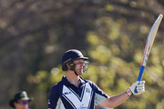 Cameron White of Victoria celebrates his half century during the JLT One Day Cup match between Victoria and South Australia at Junction Oval on September 30, 2018 in Melbourne, Australia.