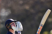 Cameron White of Victoria celebrates his half century by blowing a kiss during the JLT One Day Cup match between Victoria and South Australia at Junction Oval on September 30, 2018 in Melbourne, Australia.