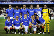 Glasgow Rangers players (From L-R) Sasa Papac, Steven davis, Maurice Edu, Kenny Miller, Madjid Bougherra, Steven Naismith, Kirk Broadfoot, Steven Whittaker, David Weir, Lee McCulloch and Allan McGregor pose for a team picture prior the UEFA Champions League group C match between Valencia CF and Glasgow Rangers at the Mestalla Stadium on November 2, 2010 in Valencia, Spain. Valencia won the match 3-0.