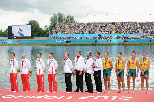 Olympics Day 7 - Rowing [team,championship,competition event,crew,recreation,event,sports,tourism,leisure,sport venue,gold medalists,tim grohmann,lauritz schoof,bronze medalists,silver medalists,phillipp wende,rowing,centre,germany,olympics]