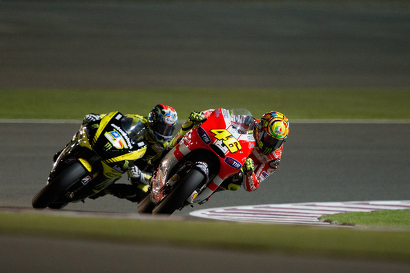 Valentino Rossi Valentino Rossi of Italy  and Ducati Marlboro Team rounds the bend during the free practice of Doha GP at Losail Circuit on March 17, 2011 in Doha, Qatar.