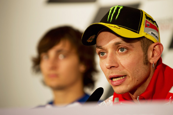 Valentino Rossi Valentino Rossi of Italy  and Ducati Marlboro Team speaks during the press conference pre-event before the free practice of Doha GP at Losail Circuit on March 17, 2011 in Doha, Qatar.