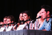 """(L-R) Actors Zach Roerig, Paul Wesley, Nina Dobrev, Ian Somerhalder, producer Julie Plec speak, and Zach Roerig at """"The Vampire Diaries"""" screening during Comic-Con International 2012 at San Diego Convention Center on July 14, 2012 in San Diego, California."""