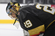 Marc-Andre Fleury #29 of the Vegas Golden Knights takes a break during a stop in play in the first period of a game against the Vancouver Canucks at T-Mobile Arena on October 24, 2018 in Las Vegas, Nevada. The Canucks defeated the Golden Knights 3-2 in a shootout.