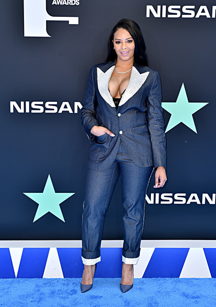 BET Awards 2019 - Arrivals [clothing,suit,jeans,electric blue,denim,carpet,footwear,formal wear,shoe,flooring,bet awards,los angeles,california,arrivals,vanessa simmons]