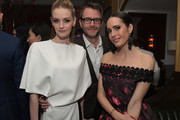 (L-R) Actor Lydia Hearst, comedian Chris Hardwick and tv personality Louise Roe attend Vanity Fair and L'Oreal Paris Toast to Young Hollywood hosted by Dakota Johnson and Krista Smith at Delilah on February 21, 2017 in West Hollywood, California.