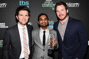 (L-R) Actor Adam Scott, honoree Aziz Ansari (holding the Power of Comedy Award), and actor Chris Pratt attend Variety's 5th annual Power of Comedy presented by TBS benefiting the Noreen Fraser Foundation at The Belasco Theater on December 11, 2014 in Los Angeles, California.