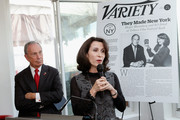 """New York City Mayor Michael Bloomberg and Commissioner of the New York City's Mayors Office of Media and Entertainment Catherine Oliver (R) speaks at Variety's """"New York: Capital Of Content"""" during the 2013 Tribeca Film Festival on April 24, 2013 in New York City."""