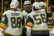 James Neal #18 of the Las Vegas Golden Knights is congratulated by teammates Nate Schmidt #88 and Erik Haula #56 after scoring a goal against his former team the Nashville Predators during the second period at Bridgestone Arena on December 8, 2017 in Nashville, Tennessee.