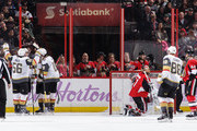 Jonathan Marchessault #81 (not pictured) of the Vegas Golden Knights celebrates his second period power-play goal against the Ottawa Senators with teammates Erik Haula #56, David Perron #57, James Neal #18 and Nate Schmidt #88 as Craig Anderson #41 and Jean-Gabriel Pageau #44 of the Ottawa Senators react at Canadian Tire Centre on November 4, 2017 in Ottawa, Ontario, Canada.