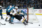 James Neal #18 of the Vegas Golden Knights tries to score on Martin Jones #31 of the San Jose Sharks during Game Six of the Western Conference Second Round during the 2018 NHL Stanley Cup Playoffs at SAP Center on May 6, 2018 in San Jose, California.