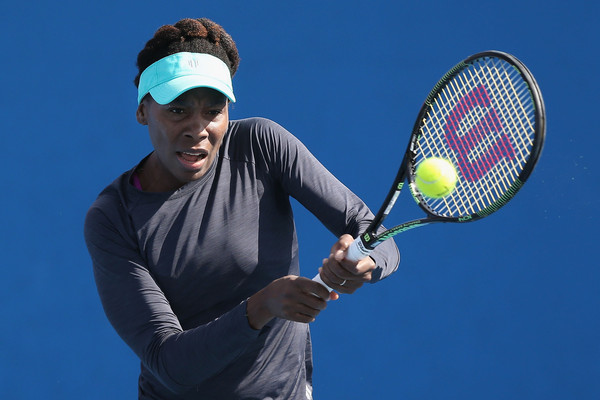Venus Williams hits a backhand during a practice session ahead of the ...
