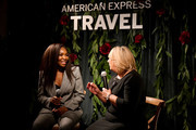 From left, Venus Williams and Audrey Hendley, president of American Express Travel hold a fireside chat to reveal the 2020 Trending Destinations at the Greenwich Hotel on November 7, 2019, in New York City.