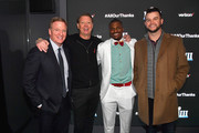"""This image has been retouched at the request of [the subject/the client].) (L-R) NFL Commissioner Roger Goodell, CEO of Verizon Hans Vestberg, Adrian Colbert and AJ McCarron attend the world premiere event for """"The Team That Wouldn't Be Here"""" documentary hosted by Verizon on January 31, 2019 in Atlanta, Georgia."""
