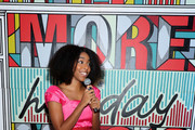 Jessica Williams is all smiles at Verizon's More Holiday Magic Event at Manhatta on December 05, 2019 in New York City.