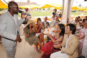 (L-R) Wyclef Jean, Donna Karan, Delfina Blaquier and Nacho Figueras attend the Veuve Clicquot Polo Classic at Governor's Island on June 5, 2011 in New York City.