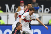 Franck Ribery of Muenchen and Daniel Schwaab of Stuttgart compete for the ball during the Bundesliga match between VfB Stuttgart and FC Bayern Muenchen at Mercedes-Benz Arena on April 9, 2016 in Stuttgart, Germany.