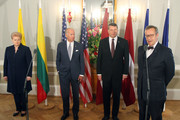 (L-R) Lithuanian President Dalia Grybauskaite, US Vice President Joe Biden, Latvian President Raimonds Vejonis and President of Estonia Toomas Hendrik Ilves are pictured during a joint press conference after the their meeting in Riga, on August 23, 2016..US Vice President Joe Biden holds talks with presidents of Estonia, Latvia, Lithuania amid tensions with Russia which has upped military activity in the Baltic region since its 2014 annexation of Crimea. / AFP / Petras Malukas