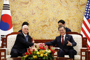 South Korean President Moon Jae-in (R) shakes hands with U.S. Vice President Mike Pence(L) during their meeting at the presidential office Cheong Wa Dae, Blue House on February 8, 2018 in Seoul, South Korea. The U.S. Vice President Mike Pence is visiting South Korea and will lead the U.S. delegation in the opening ceremony of PyeongChang Winter Olympic Games.