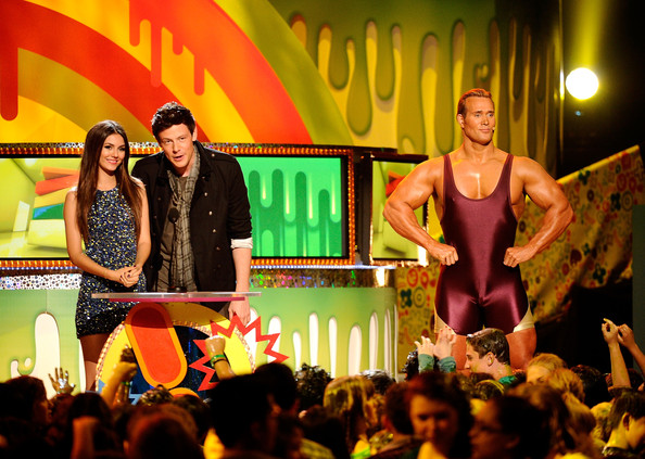Victoria Justice Actors Victoria Justice and Cory Monteith speak onstage during Nickelodeon's 24th Annual Kids' Choice Awards at Galen Center on April 2, 2011 in Los Angeles, California.