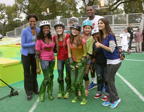 Victoria Justice First Lady Michelle Obama, Victoria Justice and NBA player LeBron James pose with event participants during Nickelodeon's largest ever Worldwide Day of Play at the Ellipse on September 24, 2011 in Washington, DC.