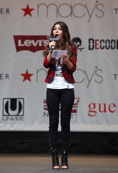 Victoria Justice Actress Victoria Justice speaks onstage during Nickelodeon's Big Time Rush & Victoria Justice celebrating Back-To-School at Macy's Herald Square on August 15, 2010 in New York City.