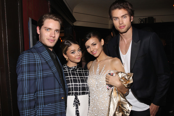 Vanity Fair Campaign Hollywood - FIAT Young Hollywood Celebration [vanity fair,fashion,event,tartan,design,textile,fun,pattern,plaid,fashion design,party,actors,dominic sherwood,sarah hyland,victoria justice,pierson fode,l-r,hollywood - fiat,young hollywood celebration,celebration]