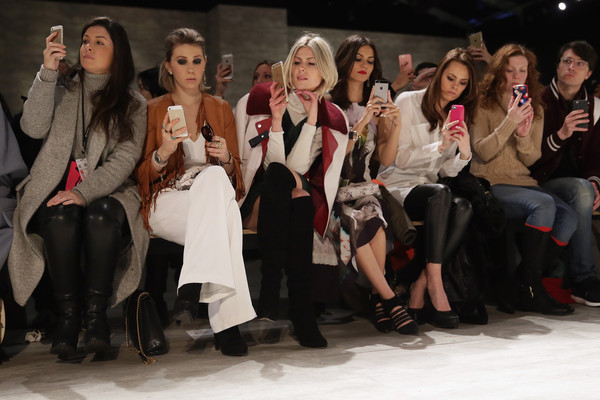 Rebecca Minkoff - Front Row - Mercedes-Benz Fashion Week Fall 2015 [fashion,social group,event,beauty,fashion design,runway,fashion show,model,performance,fashion model,rebecca minkoff,zosia mamet,charles manning,jen rade,madison guest,victoria justice,front row,tresemme,mercedes-benz fashion week,fashion show]