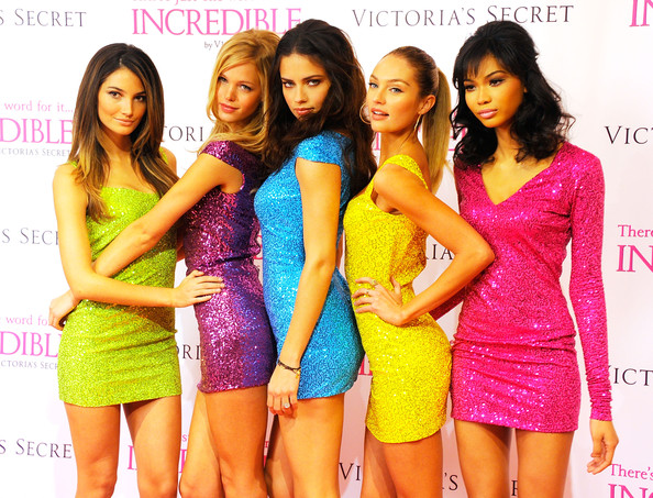 "(L-R) Victoria's Secret models Lily Aldridge, Erin Heatherton, Adriana Lima, Candice Swanepoel, and Chanel Iman attend the Victoria's Secret debut of the New ""Incredible"" Bra at Victoria's Secret, SoHo on March 1, 2011 in New York City."