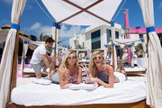 Devon Windsor and Rachel Hilbert attend Victoria's Secret PINK Nation Spring Break Beach Party in Cancun, Mexico on March 15, 2016 in Cancun, Mexico.