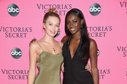 Maggie Laine (L) and Zuri Tibby attend  the Victoria's Secret Viewing Party ar Spring Studios on December 2, 2018 in New York City.
