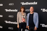 Co-hosts Morgan Webb and Adam Sessler pose together outside of the Dolby Theatre before the start of the Bethesda E3 2015 press conference on June 14, 2015 in Los Angeles, California. The Bethesda press conference is held in conjunction with the annual Electronic Entertainment Expo (E3) which focuses on gaming systems and interactive entertainment, featuring introductions to new products and technologies.