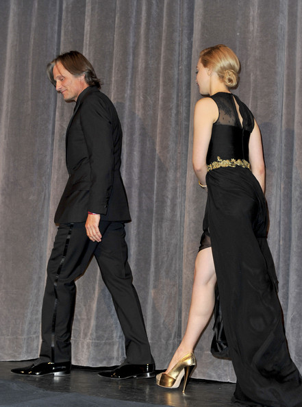 "Viggo Mortensen Actors Viggo Mortensen (L) and Sarah Gadon walk onstage at ""A Dangerous Method"" Premiere at Roy Thomson Hall during the 2011 Toronto International Film Festival on September 10, 2011 in Toronto, Canada."