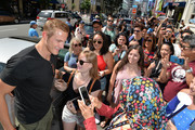 Alexander Ludwig greets fans during the Vikings Battle Axe Training at San Diego Comic-Con 2019 on July 20, 2019 in San Diego, California.