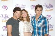 (L-R) Diego Dominguez, Martina Stoessel and Jorge Blanco attend the 'Violetta' photocall at the Emperador Hotel on June 24, 2013 in Madrid, Spain.