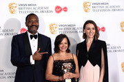 Nicola Shindler (C) winner of the Special Award with Lenny Henry (L) and Suranne Jones in the Press Room at the Virgin TV BAFTA Television Award at The Royal Festival Hall on May 12, 2019 in London, England.