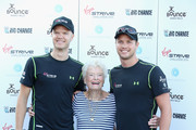 Noah Devereux (L, cousin of Sam Branson), Eve Branson and Sam Branson attends a photocall as the Virgin STRIVE challenge sets off at 02 Arena on August 7, 2014 in London, England.