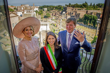 Virginia Raggi The King and Queen of The Netherlands Visit Italy : Day One.