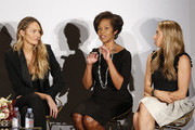 IMG model, Founder, Tropic of C, Candace Swanepoel, SVP Credit Card Products Management, Wells Fargo, Heather Philp and Co- Founder and CEO of Jetblack, Jenny Fleiss speak onstage during The Talks: Earned It at IMG NYFW: The Shows 2018  at Spring Studios on September 7, 2018 in New York City.