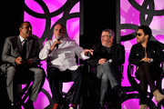 (L - R) Founder, Chairman and Chief Executive Officer of SBE, Sam Nazarian, Culinary Director at SLS Las Vegas, Chef Jose Andres, Creative Director at SLS Las Vegas, Philippe Starck, Founder of Kravitz Design, Lenny Kravitz and CEO of Fred Segul, Paul Blum onstage during Visionary Partners Sam Nazarian, Philippe Starck, Jose Andres and Lenny Kravitz Unveil SLS Las Vegas on August 22, 2014 in Las Vegas, Nevada.