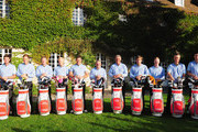 ( left to right) Scott Jamieson, Ian Poulter, Jamie Donaldson, Simon Dyson, Lee Westwood, captain Paul McGinley, Darren Clarke, Robert Rock, David Horsey, Mark Foster and  Ross Fisher ofT he Great Britain and Ireland team pose for a team picture prior to the start of the first days fourball matches at the Vivendi Seve Trophy at Saint - Nom - La Breteche Golf Course on September 15, 2011 in Paris, France.